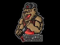 Russian Bear Patch Illustration