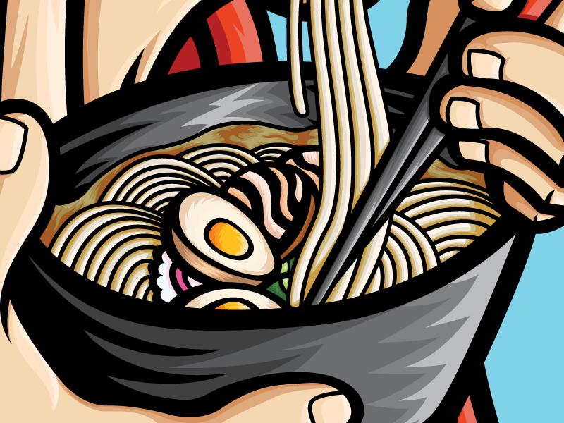 Ramen Samurai poster japan food and drink food art ramen japanese food apparel vector illustrator illustration