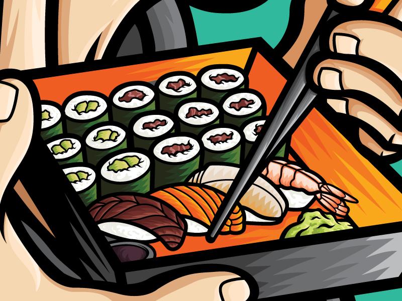 Sushi Samurai product stickers manga anime apparel art food and drink japanese food sushi japanese food japan vector art design vector illustrator illustration