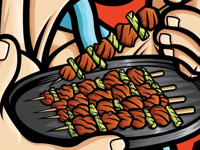 Yakitori Samurai apparel art food and drink food art food stickers poster design agency manga anime japanese food japan yakitori vector art vector illustrator illustration