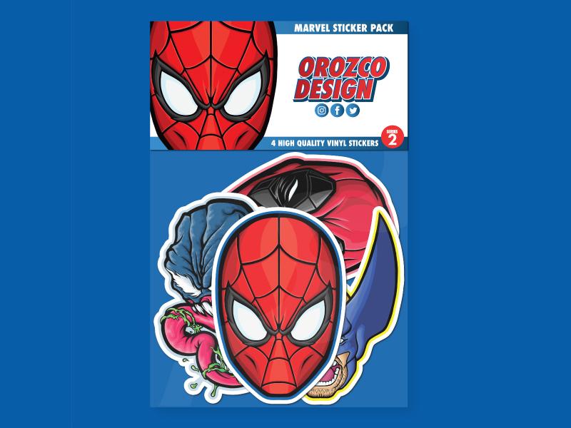 Marvel Sticker Pack Series 2 popular pop art medicom vector illustration vectorart deadpool wolverine venom spider-man spiderman marvel sticker design sticker stickers product art design vector illustrator illustration