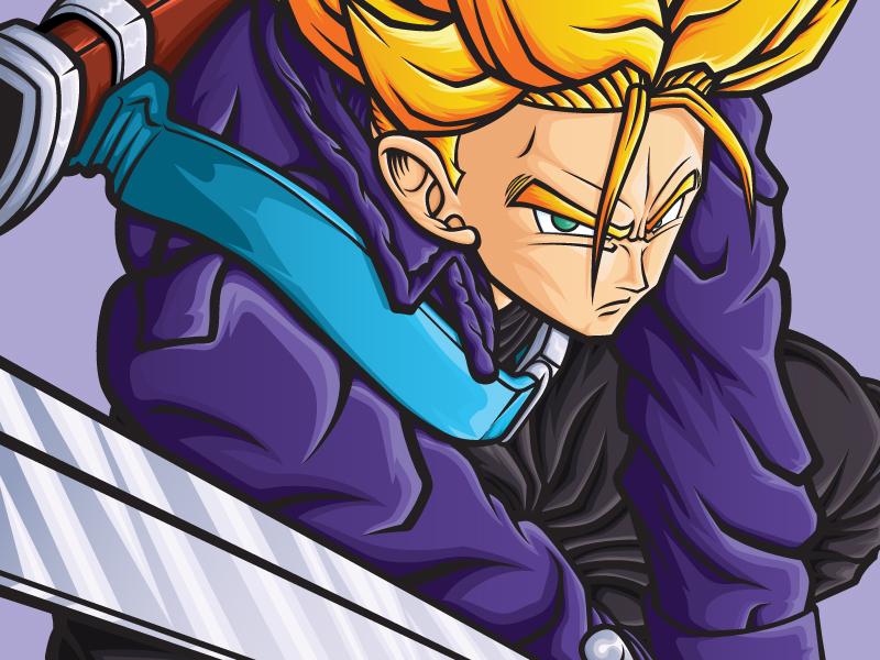 Dragon Ball Super Saiyan Trunks poster art posters vegeta goku trunks medicom dragon ball z dragon ball vector art manga anime art design vector illustrator illustration