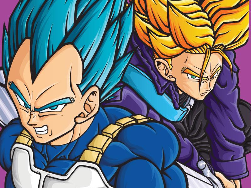 Dragon Ball Vegeta & Trunks Poster poster design posters poster art medicom trunks vegeta dragon ball z dragon ball vector art manga anime art design vector illustrator illustration