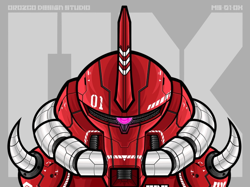 ODS Ox Mech toy design toy merchandise manga vector art tshirt art apparel robot anime zaku gundam gunpla mecha mech typography design art vector illustrator illustration