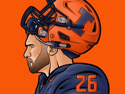 NCAA Illinois Illini Mike Epstein artist football art illustrator illustration sports college sports college football college ncaa