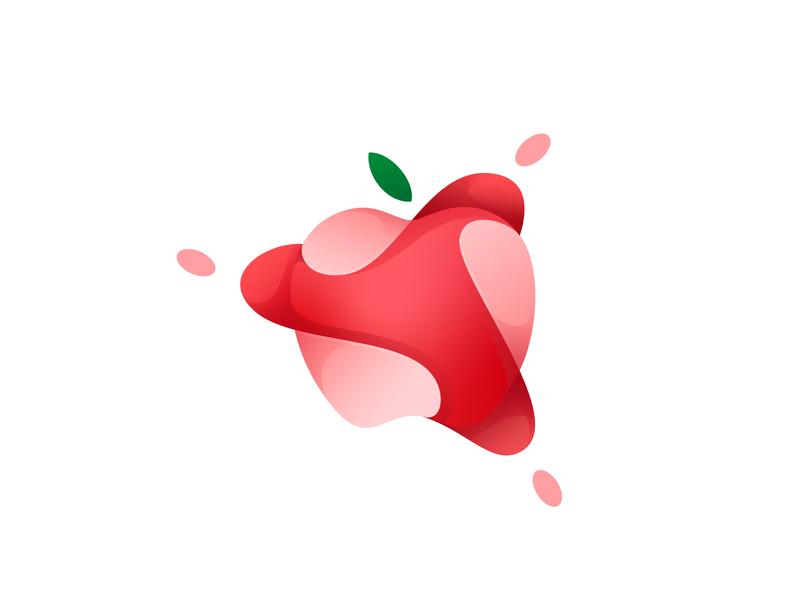apple fruits apple design vector gradient icon illustration logo illustrator