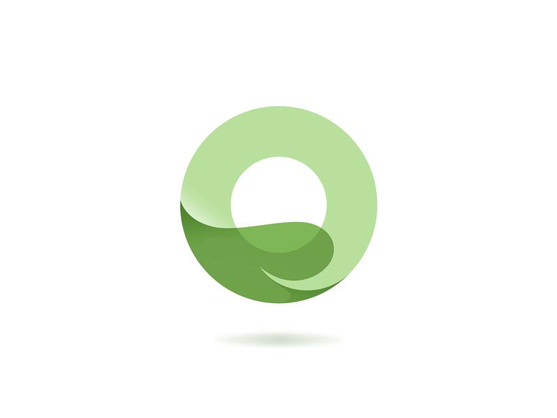 O + Leaf green leaf process logo design branding vector gradient illustration illustrator