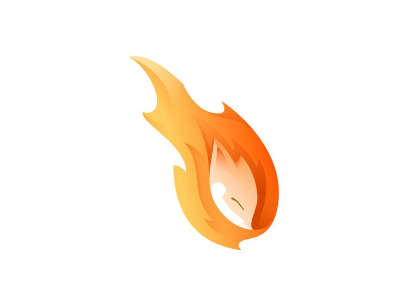 fox fire fire app branding golden ratio gradient illustration logo illustrator