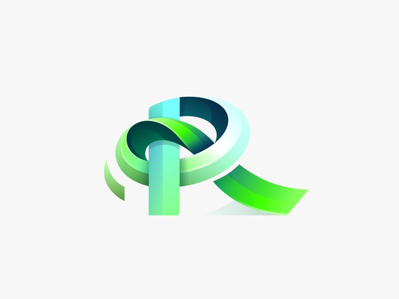 R logo typography branding design vector golden ratio gradient illustration icon illustrator