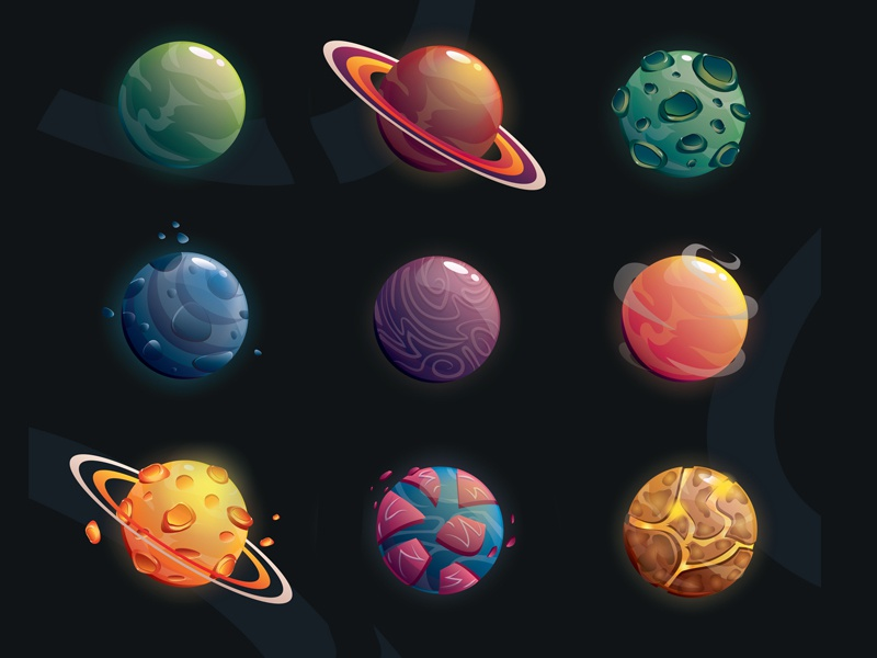 Set of planets design game objects vector illustration set galaxy space planet