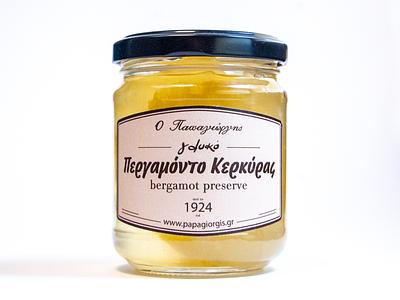 label for Papagiorgis patisserie preserve packaging desserts identity typogaphy dessert brand design label