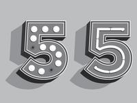 Retro 55 typography five 5 retro vintage illustration illustrator black and white