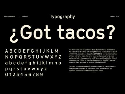 Mony's Tacos Visual Identity: Typography