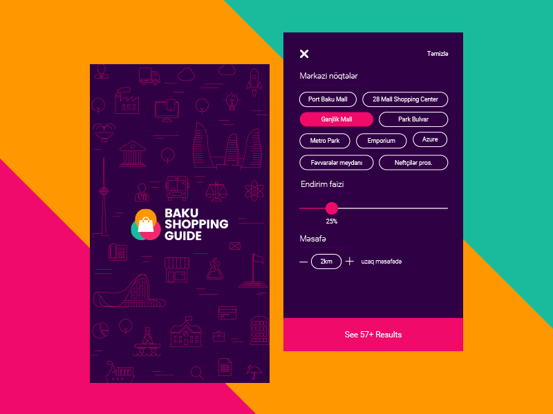Baku Shopping Guide - All Discounts in one place discount coupon filter mobile ux ui baku guide shopping