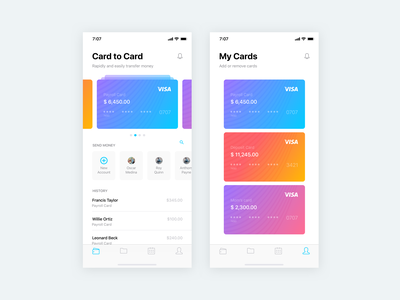 Mobile Banking UI send payments ios finance contacts cards card ui bank payment banking mobile