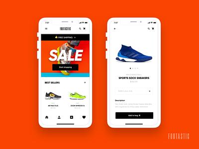 Footastic - E-Commerce Shoes App pdp product detail adidas nike shop ecommerce shoes cart