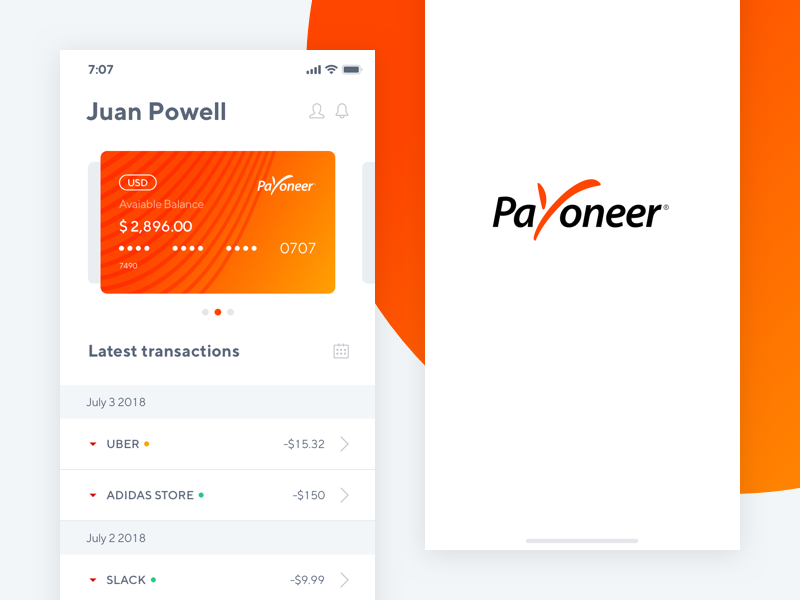 Payoneer - App Concept load transfer money dashboard ui app pay finance paypal payoneer