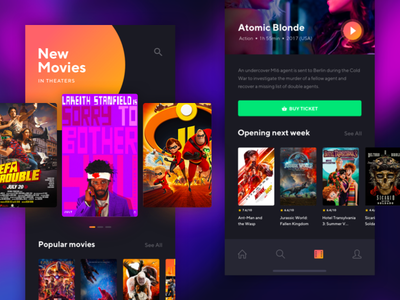 Dark style Movie app film movie app dark style