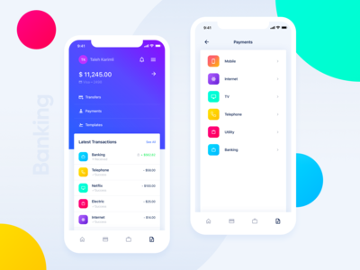 Banking App Design for iPhone Xs
