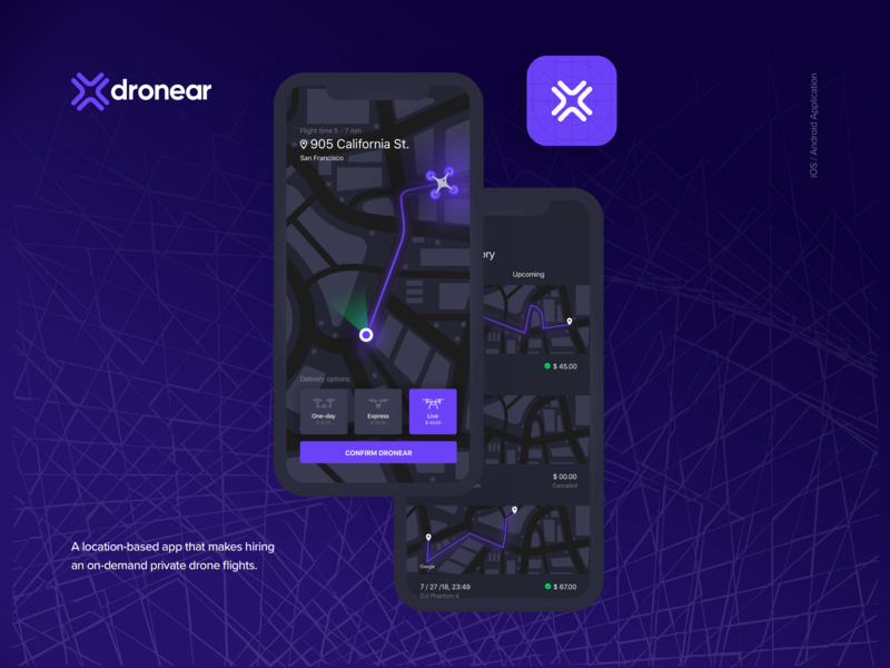 Dronear - Drone Delivery Service delivery logo mobile app ui dji gopro drone