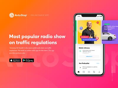 AvtoStop - Online Radio App Design cybertruck ios live app radio app radio ecommerce finance banking mobile ux app ui