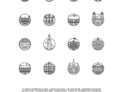 Louisiana Landmarks Poster icon brand icons landmark louisiana vector poster art print