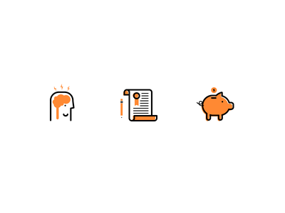 Orange Icons icon illustration vector brain head pig bank money document