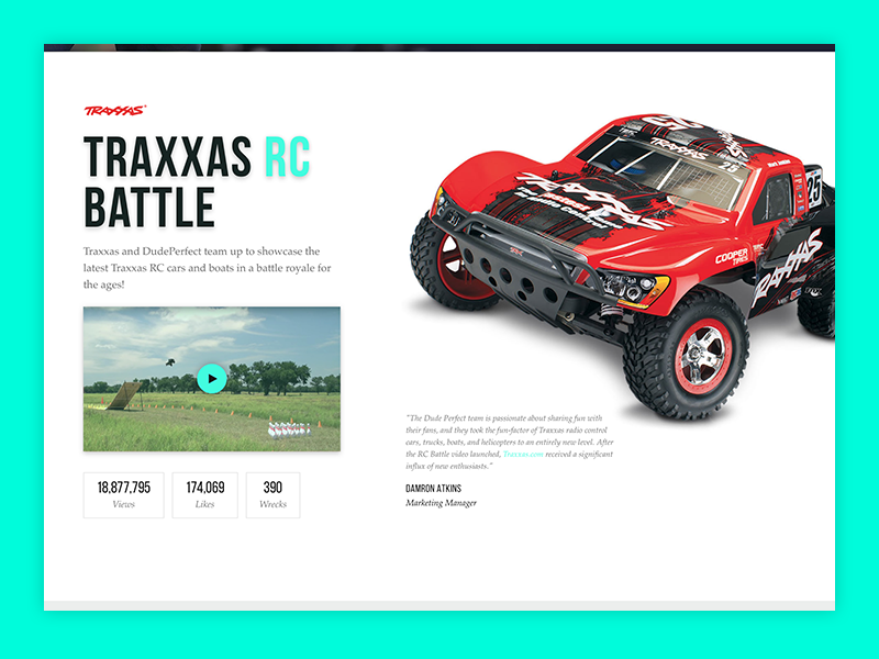 Dude Perfect Traxxas Spacetime cars traxxas case study web design ui design sports website dude perfect