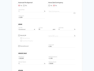 Steadkey MVP–Loan Approval input form app ui mortgage saas website