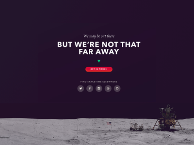 Spacetime Website Footer moon contact agency portfolio ui footer space type spacetime website