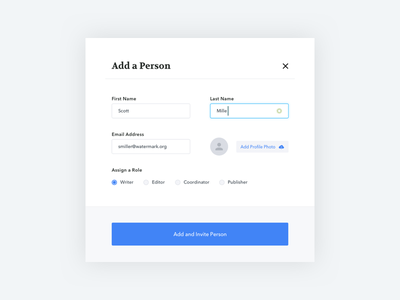 Add Modal inputs person user modal form web ui