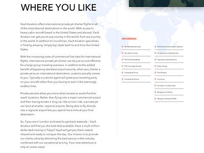 Vault Aviation - Internation Charter redesign template aviation ui design web client agency