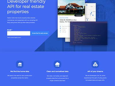 New Build Api landing page ux ui unbounce real estate api website design mvp