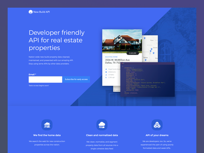 New Build Api landing page ux ui unbounce real estate api website design mvp