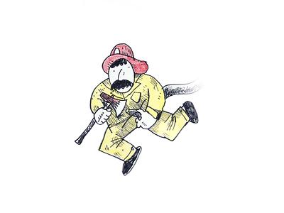 Firefighter crayon pen illustration sketch drawing