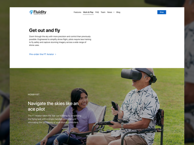 Fluidity Tech Website - Work & Play drone website web design