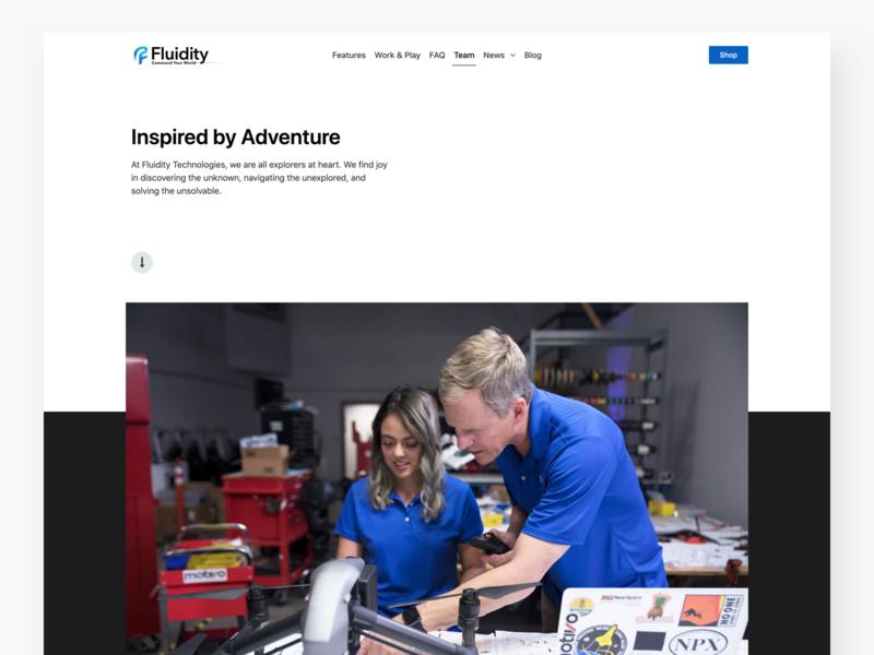 Fluidity Tech Team 01 about team hero website web design ui