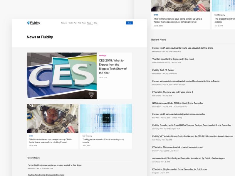 Fluidity Tech News drones news website web design ui