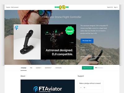 Fluidity Tech Kickstarter Complete campaign crowdfunding kickstarter drone website web design ui