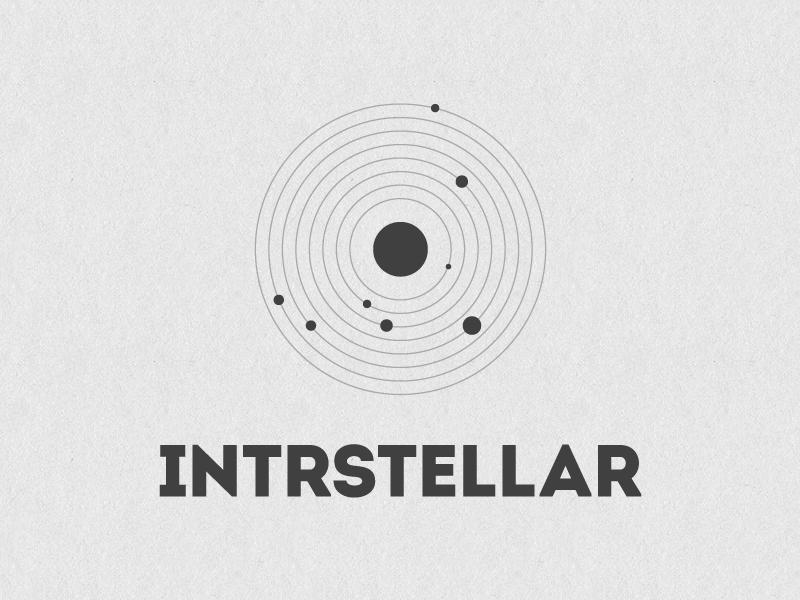 Intrstellar Logo logo image icon black white brand space type typography planets