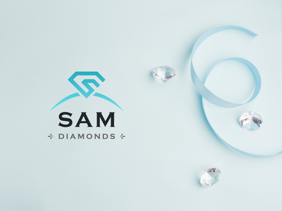 Sam Diamonds logo clean modern jewelry design custom jewelry retailer design jewelry diamond