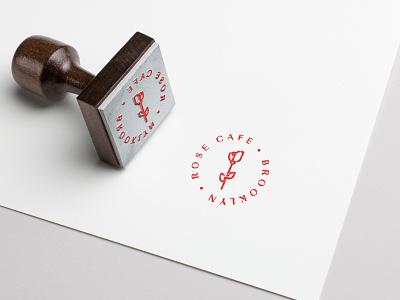 Rose Cafe branding stamp design logo