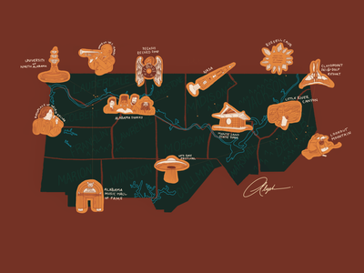 Illustrated Map of Alabama —The North warm nature natural illustration design illustrated map illustration map