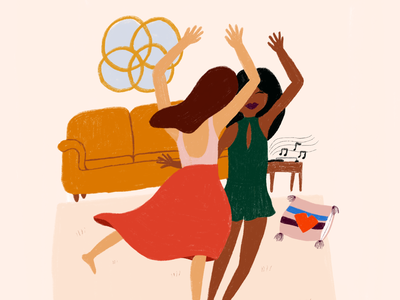 Dance with a Friend Illustration women lovely stationery design decor interior procreate friends dancing illustration