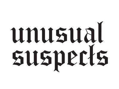 Unusual Suspects Logo calligraphy calligraphy design creative vector hand lettering lettering branding logo graphic design design