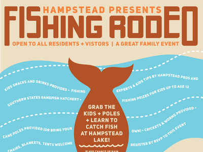 Hampstead Fishing Rodeo Event Poster southern family rodeo fish fishing layout design layout typography event graphic event vector illustration graphic design print design design