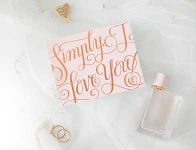 """""""Simply, I Love You"""" lettered card"""