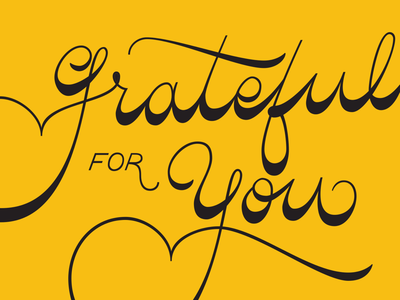"""Grateful for You"" Lettered card"