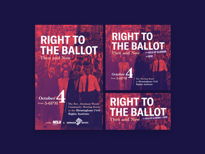 """""""Right to the Ballot"""" Event graphics event graphics event election layout design layout voting rights voting aclu graphic design"""