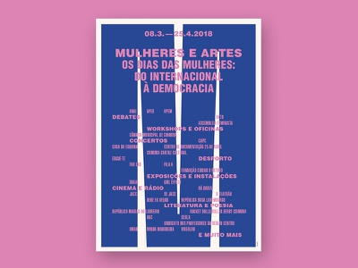 Mulheres e Artes — Os dias das Mulheres coimbra portugal pink blue international womens day graphic design poster